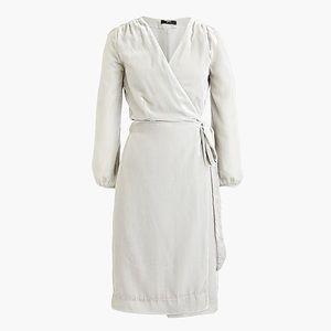 J. Crew New Gray Velvet Wrap Dress